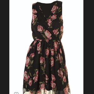 Maison Jules Black Pink Floral Surplice Dress